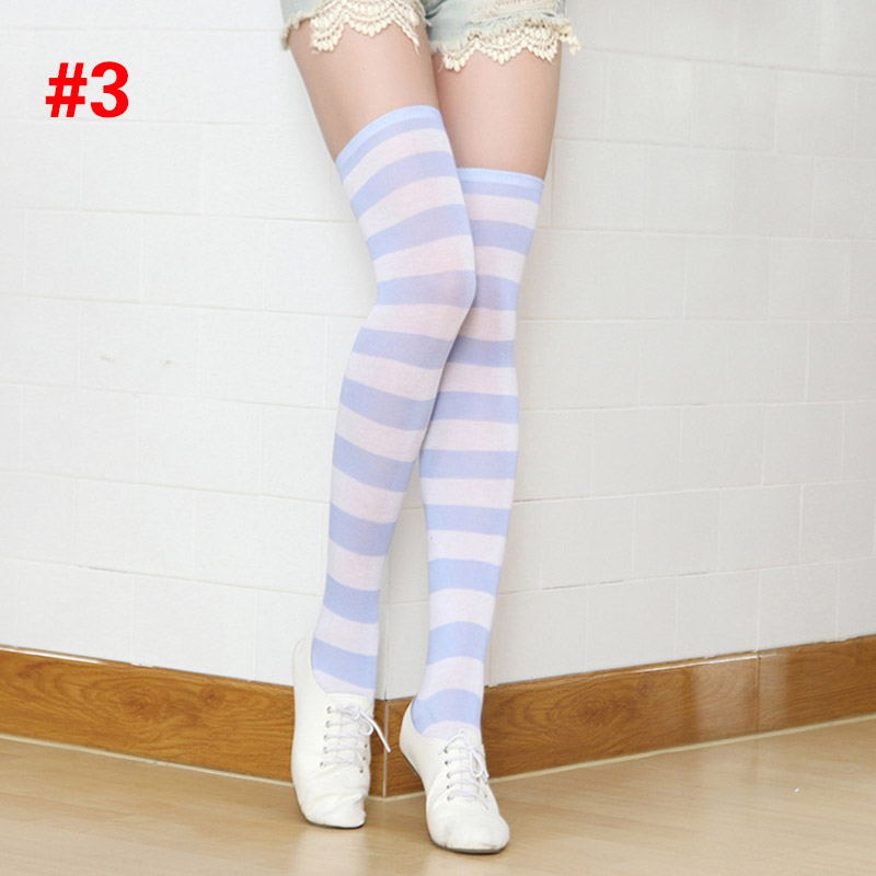 Polyester Fashion Stripe Beauty Tights, Stockings, Multicolor Knee-high Women Sweet Cute Girls Stockings 10