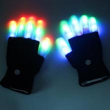 1 Pair LED Gloves Flashing Multicolor Changing Led Optical Fiber Magic Gloves Light Gloves Finger Light Gloves