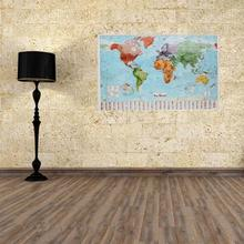 97.5 x 67.5cm Waterproof Big Large Map Of The World Poster with Country Flags Wall Stickers Decal for Home Decorations