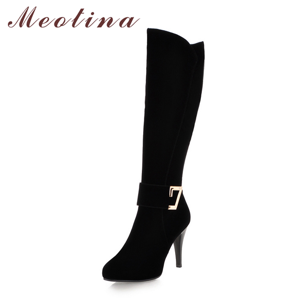 Meotina Winter Boots Women Knee High Boots Zip Platform High Heel Boots Shoes Sexy Ladies Shoes Autumn 2018 Black Size 34-39<br>