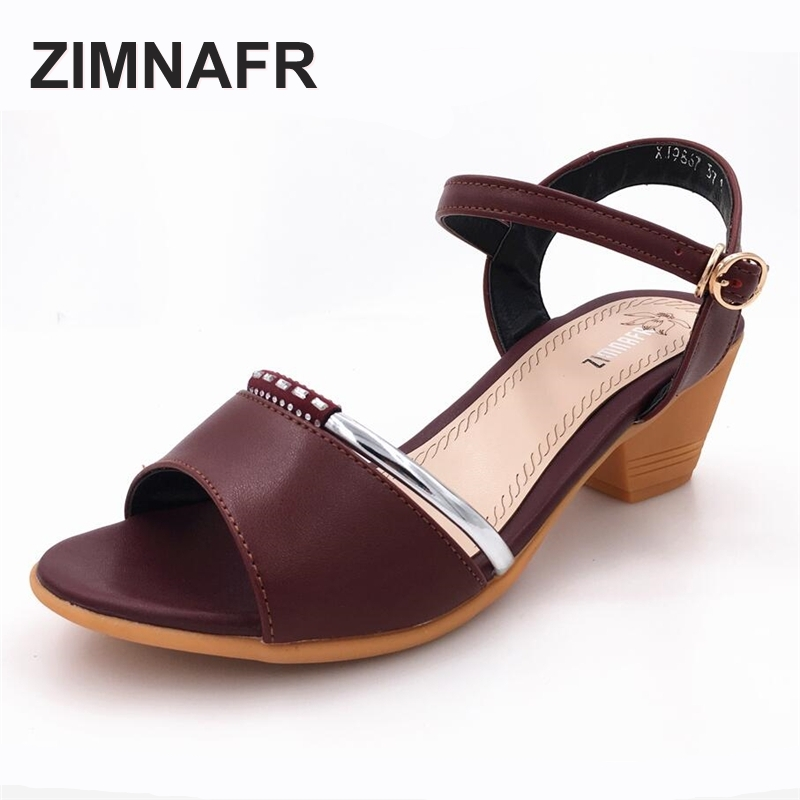 woman sandals 2017 summer Fish mouth genuine leather thick high heel sandals plus size gladiator soft breathable female sandals<br>