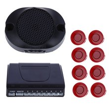 Car Parking Park Radar Buzzer Alarm Auto Reverse Rear Assistance Backup 8 Sensors Kit Monitor System English Voice Notification
