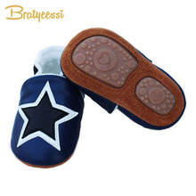 New Star Winter Baby Shoes Plush Lining Genuine Leather Baby Moccasins Anti Slip Infant Baby Boy Shoes 3 Colors(China)