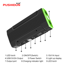 PUSHIDUN-K10S Super Car Jump Starter Auto EPS Engine Start Battery Source Laptop Portable Charger Mobile Power Bank double USB(China)