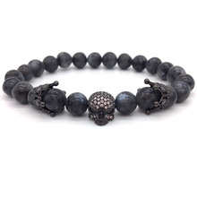 NAIQUBE 2017 New Trendy Men Bracelet Skull Gray Stone Beads Crown Bracelet For Men Jewelry Pulseira Masculina