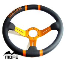 Special Offer Original Logo 350mm Suede Leather 3 Gold Spokes Deep Dish Drifting Steering Wheel