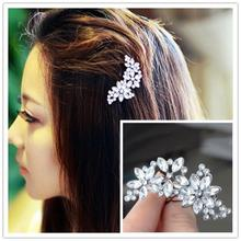 1 PC Women's Bride's Bridesmaid's Rhinestone Flower Crystal Hair Clip for Weddings Comb Mariage Hair Jewelry Accessories(China)