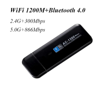 USB Mini wireless WiFi Network Card Bluetooth 4.0 1200Mbps 802.11ac wi-fi adapter 2.4G 5.0G for PC desktop