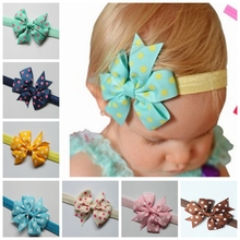 16 Colors Ribbon Dot Bow Headbands Baby Girl flower Headband Solid Color Children Hair Bow Elastic Infant Kids Hairband