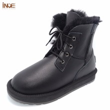 INOE genuine sheepskin leather fur lined men ankle winter snow boots for man lace up casual winter shoes waterproof black 35-44(China)
