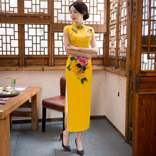 Buy Yellow Chinese Traditional Women Satin Slim Cheongsam Novelty Print Flower Sexy Dress Female New Arrival Long Qipao M-3XL for $59.00 in AliExpress store