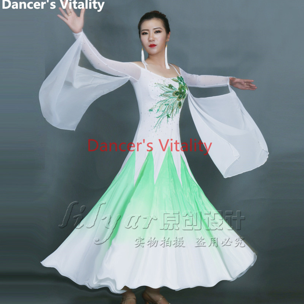 Noble Ballroom Dance Costumes Senior Embroidery Long Sleeves Ballroom Dance Dress For Women Ballroom Dance Competition Dresses