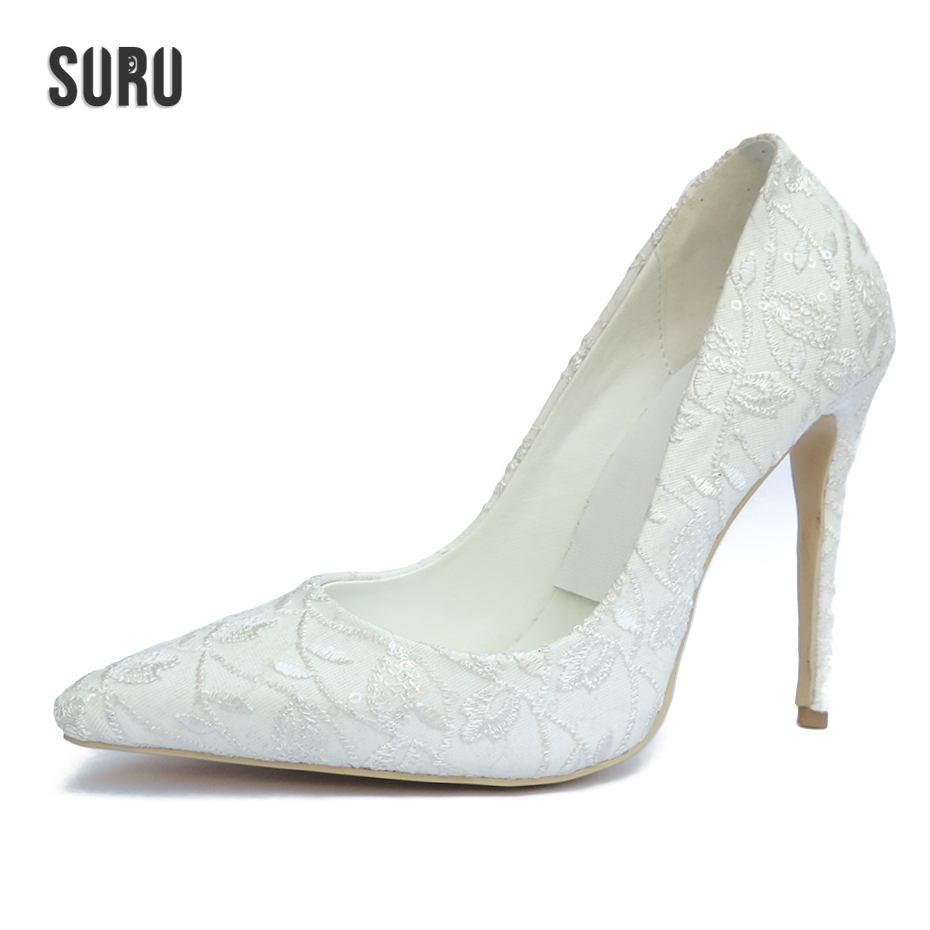 SURU Floral White Wedding Pumps For Bride And Bridesmaid Women 12cm Thin High Heels Designer Shoes Women Luxury 2018 Spring<br>
