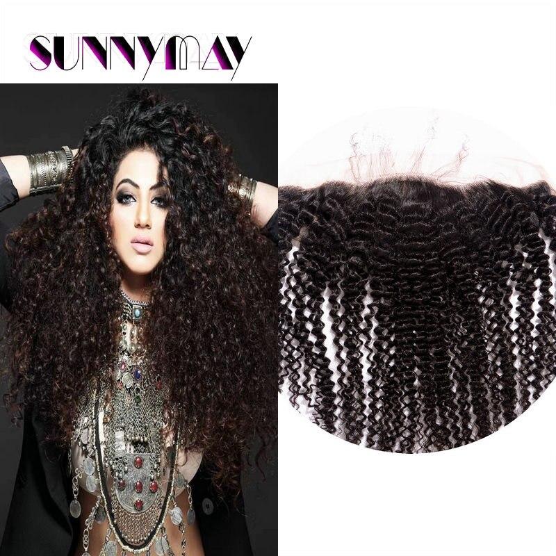 Sunnymay 13*4 Peruvian Afro Kinky Curly Lace Frontal Closure 7A Peruvian Virgin Hair Natural Color Silk Base Frontals Closure<br><br>Aliexpress