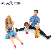 Abbyfrank 4Pcs/Set Dolls Family Happy Family Pack Removable Joints Men Prince Baby Doll Toy Xmas Gifts Kawaii Playmate For Kids
