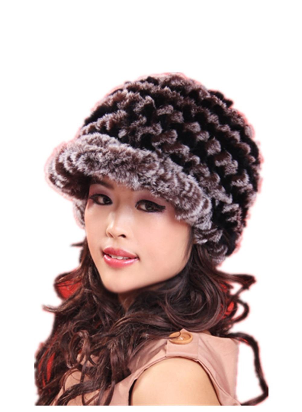 fur hat for women autumn and winter black red fashion warm knitted  natural rex rabbit  H901Îäåæäà è àêñåññóàðû<br><br>