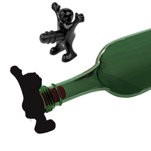 High Quality Kitchen Bar Gadget Black Fun Happy Man Wine Beer Opener Preservation Stopper Gift Hot Selling