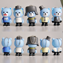 5pcs/lot 8cm Super Star Singer Yg Bear Bigbang Keychains Pendant Blue Rock Teddy Bears PVC Action Figures Model in opp bag(China)