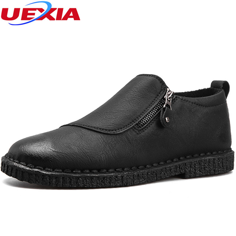 UEXIA New Soft Leather Casual Men Shoes Slip-on Flats Driving Shoes Breathable Designer  Fashion British Style Zapatillas Hombre<br>