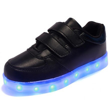 2017 New Baby Kids 4 Color LED Light Sneakers       Girls Boys USB Charge Luminous Shoe Children Sports Running Shoes Size 25~37