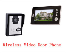 7 wireless colour video door phone / digital building intercom system 1 to 1 / outdoor unit rainproof(China)