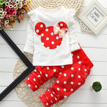 New Spring Autumn Children Girls Clothing Sets Minnie Mouse Clothes Bow Tops T-shirt Fashion Leggings Pants Baby Kids 2 Pcs Suit(China)