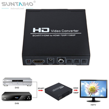 SCART +HDMI to HDMI Converter  1080p HD video converter for HDTV XBOX360 PS3  DVD WII STB HDMI Splitter Free shipping