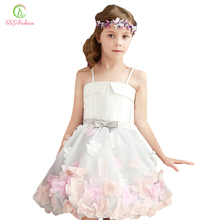 SSYFashion 2017 New Sweet Flower Girl Dresses for Wedding The Children Party Gown Straps A-line Short Photography Dress Custom(China)