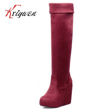 Big size 32-43 2015 new arrive Winter over the knee Boots Black wedges blue boots autumn winter fashion thick high heels shoes