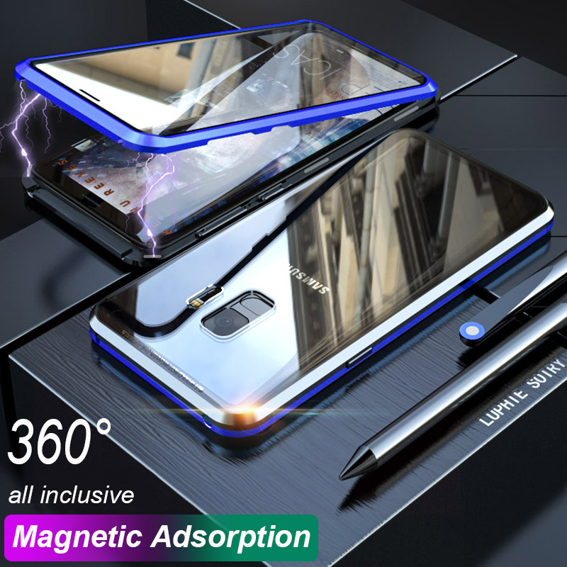 360 Magnetic Double side Glass Case for Samsung Galaxy S8 S9 Plus s9plus s8plus Magnet Flip Cover for Samsung Note 9 8 Note9 s9(China)