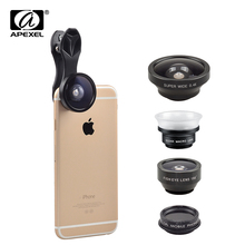 Apexel 2017 NEW 5 in 1 Phone Camera lenses Fisheye Macro Wide Angle CPL Lens With Universal Clip For iPhone 7 6 Plus Samsung SJ5