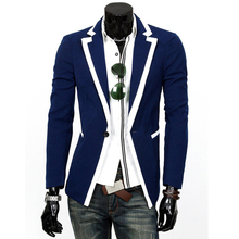 Preppy Style Spring Autumn Mens Casual Blazers Slim One Button Fashion Blazer Casual Plus Size Outerwear Coat Y1906