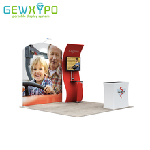 10ft Trade Show Booth Size Easy Fabric Banner Advertising Tube Display Wall With TV Stand And Hard Case Podium (Include All)(China)