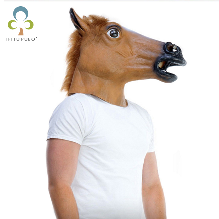 Hot selling Creepy Horse Mask Head Halloween / Christmas Costume Theater Prop Novelty Latex Rubber Party Mask GYH(China (Mainland))