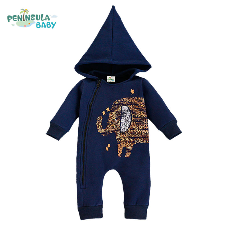 Elephant Baby Romper Cute Zipper Cotton Long Sleeve Girl Clothing Hooded Jumpsuits Newborn Boy Clothes recem nascido<br><br>Aliexpress
