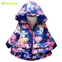 KEAIYOUHOU Baby Girls Jacket For Girls Clothes Hooded Bow Children Jacket Kids Warm Outerwear Coat 2017 Winter Infant Girls Coat