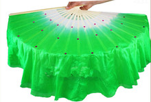 Free Shipping 41cm Imitation Silk Belly Dance Fan Veils Sequine Decorated Bamboo Hand Fan For Bellydance Square Dancing Green