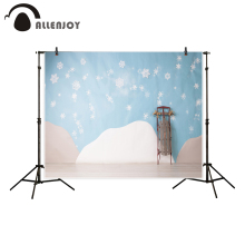 Allenjoy photography backdrop Light blue wall snowflake decoration sled birthday baby shower background camera fotografica(China)