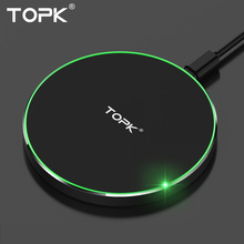 Buy TOPK Wireless Charger Pad iPhone X 8 Plus Ultra Thin 10W Fast Wireless Charging Samsung Galaxy Note 8 S8 Plus S7 Edge for $12.99 in AliExpress store