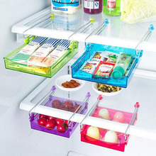 1PC  Small Fridge Storage Rack Layer Partition Refrigerator Storage Holder Pullout Drawer Organizer Kitchen Shelf Rack