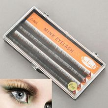 1 Box Eyelashes C Curl Individual Eyelash Extensions False Mink Hair Eyelash Fake Eyelash 8/10/12mm with plastic box(China)