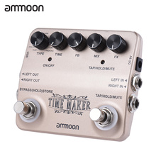 ammoon TIME MAKER Guitar Delay Effect Pedal 11 Type of Effects True Bypass Aluminum Alloy Body Surface Design with USB Cable