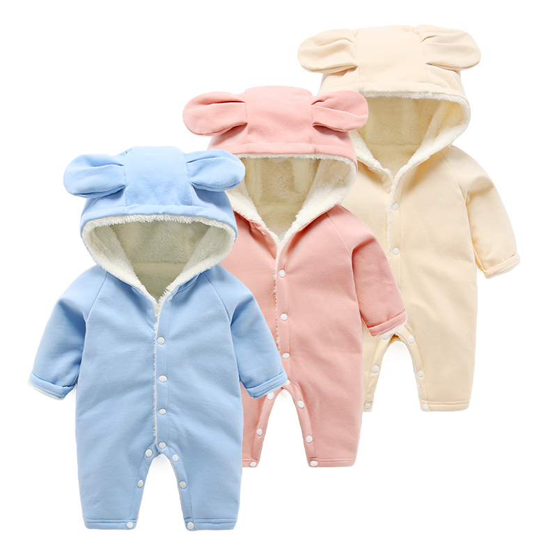 Newborn clothes infant romper hooded autumn and winter plus velvet baby thickening clothes<br>
