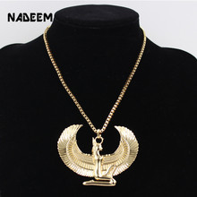 New Fashion Gold Color Punk Long Chain Hiphop Eagle Women Necklace Jewelry Egyptian Trendy Cross Angel Isis Pendant Necklace(China)