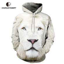 2017 Fashion Casual Hoodie White Lion 3D Digital Printing Clothes Loose Hooded Clothes Men And Women Models Couples Hoodies(China)