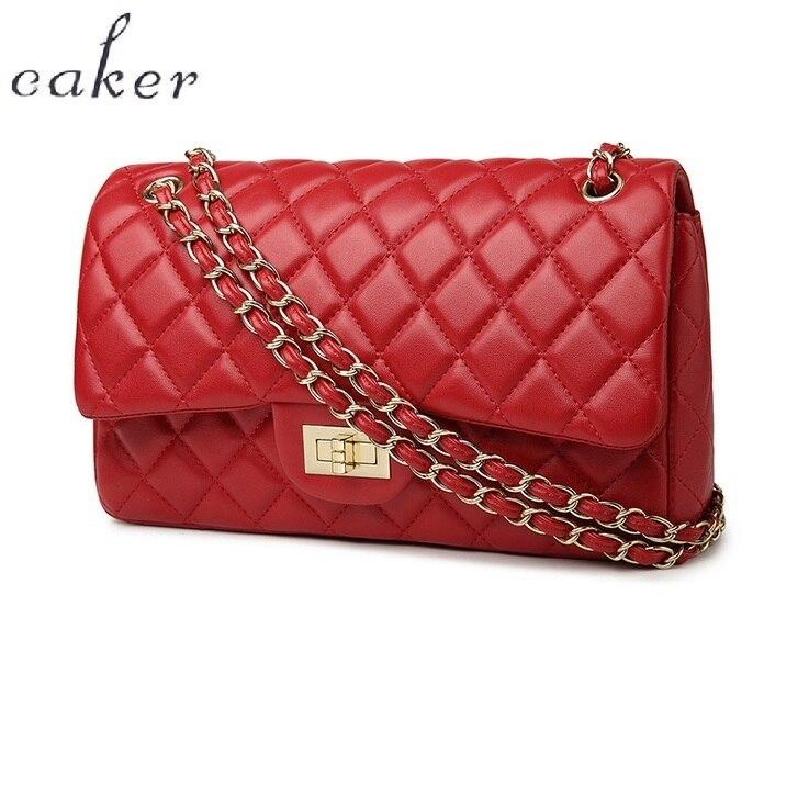 Caker Brand 2018 Women Diamond Lattice Handbag Fashion High Quality Women Shoulder Bags Black Red Golden Chain Bags<br>