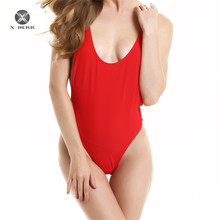 2017 Brazilian Bikini One Piece Swimsuit Double Layer Bathing Suit Solid Body Suit for Women Beach Wear Open Backless Swimsuit(China)