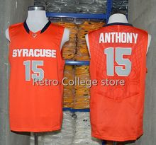 #15 Carmelo Anthony Syracuse Orange College Throwback Jersey Retro Basketball Jersey New Material Top quality embroidery jersey(China)
