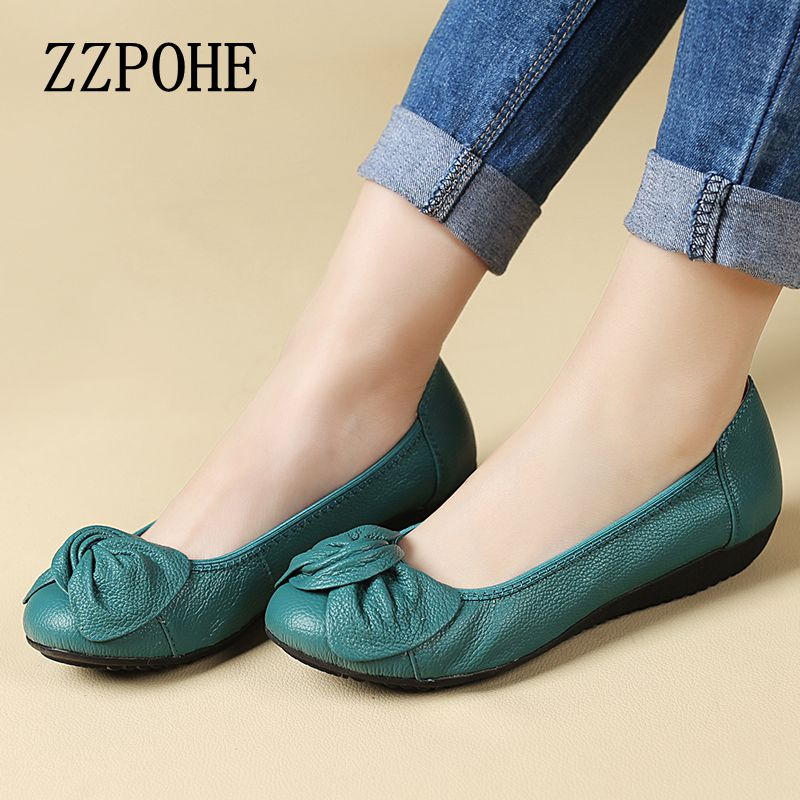 Spring leather soft bottom shallow mouth slip womens shoes mother casual comfortable large size flat shoes women work shoes 42<br><br>Aliexpress