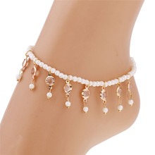 HOT New Charm Cheap Anklets for Women Jewelry Trendy Foot Jewelry Imitation Pearls Tassel Inlaid Crystal Ankle Chain